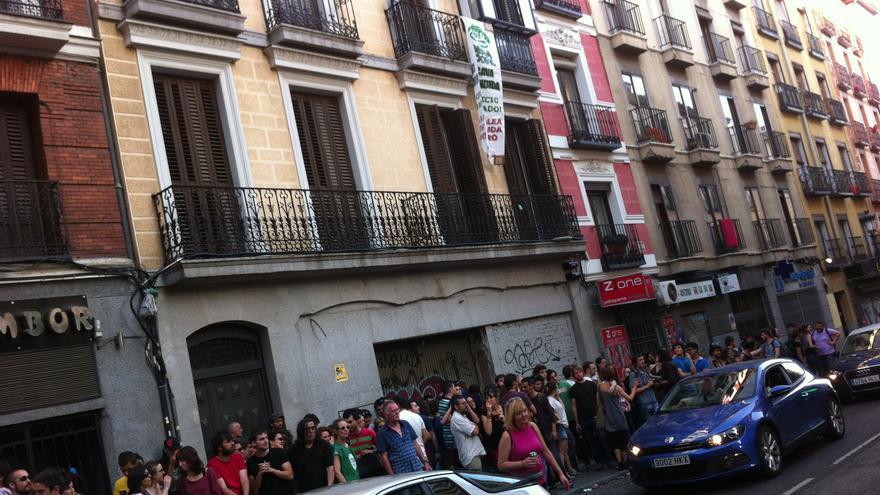 Fachada de la vivienda ocupada en la calle Toledo de Madrid