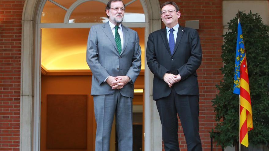 Mariano Rajoy junto a Ximo Puig a las puertas del palacio de la Moncloa