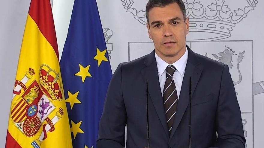 Pedro Sánchez en su comparecencia este sábado.