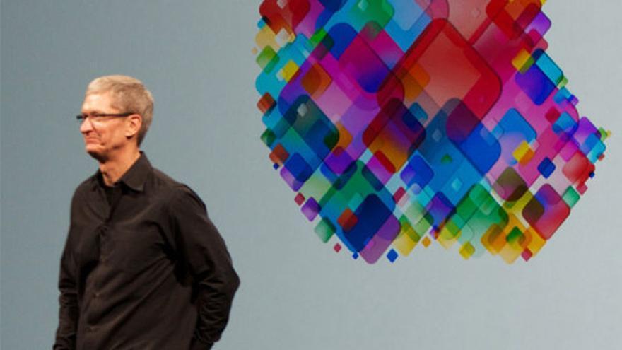 Tim Cook durante una presentación de Apple