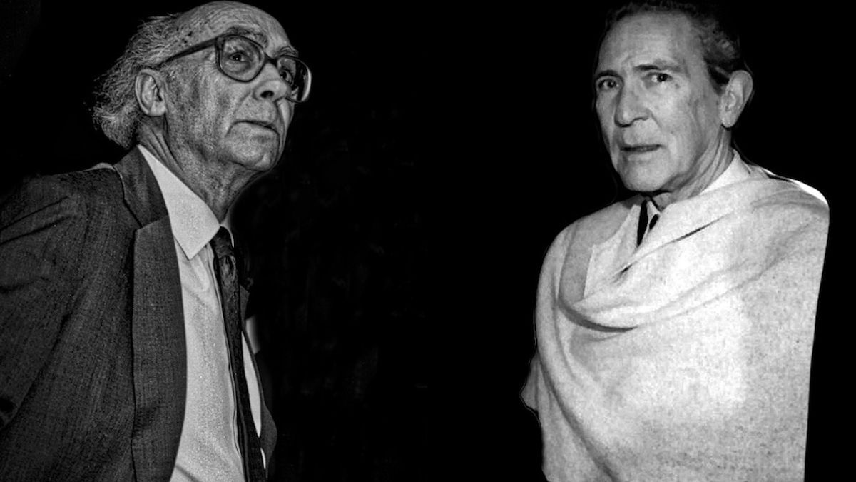 Imagen de José Saramago y Antonio Gala incluida en la invitación al acto de la Fundación Antonio Gala.