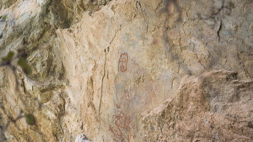 Vista este jueves, de un fragmento de una pintura rupestre en la comunidad de Santa María Mixtequilla, en el estado de Oaxaca (México).