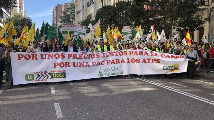 Cabecera de la manifestación agrícola de Valladolid.