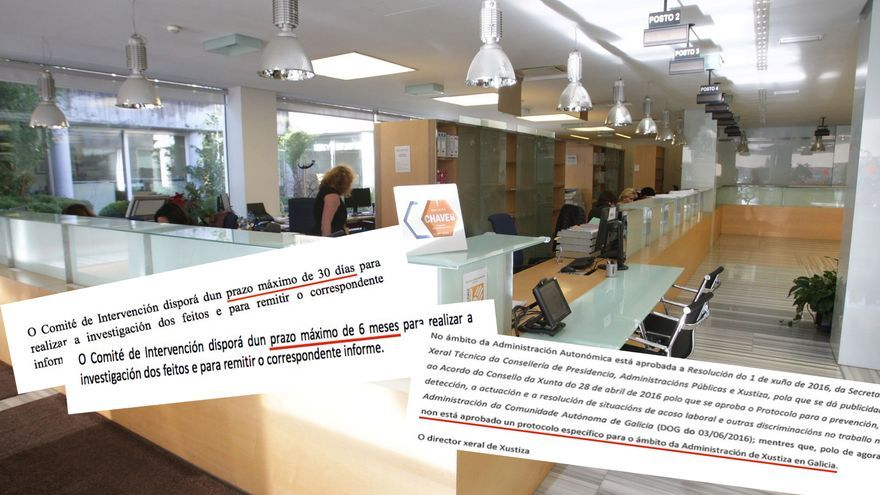 Ampliación de los plazos del protocolo contra el acoso laboral en la Xunta y escrito en el que el Gobierno gallego admite que no es de aplicación al persoal de la Justicia