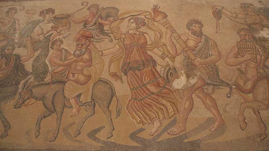 Detalle del mosaico romano en Noheda