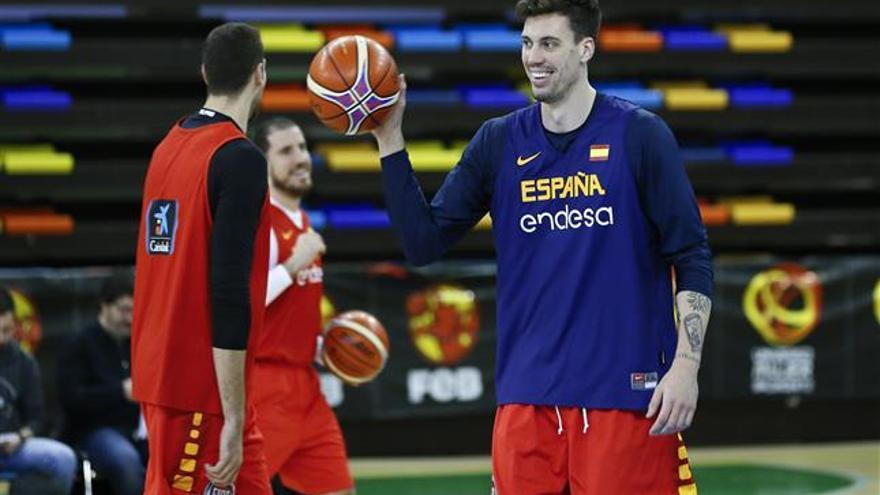 Álex López, durante su estancia con la selección española