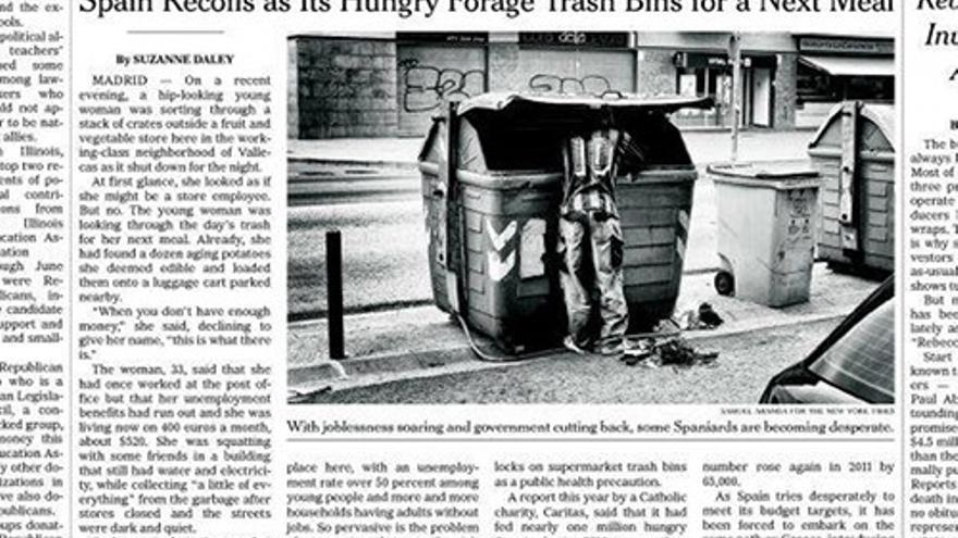 Hambre y austeridad en España en la portada de The New York Times.