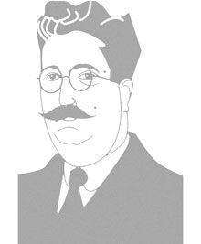 Caricatura de Eduardo Ortega y Gasset, candidato republicano por Hospicio