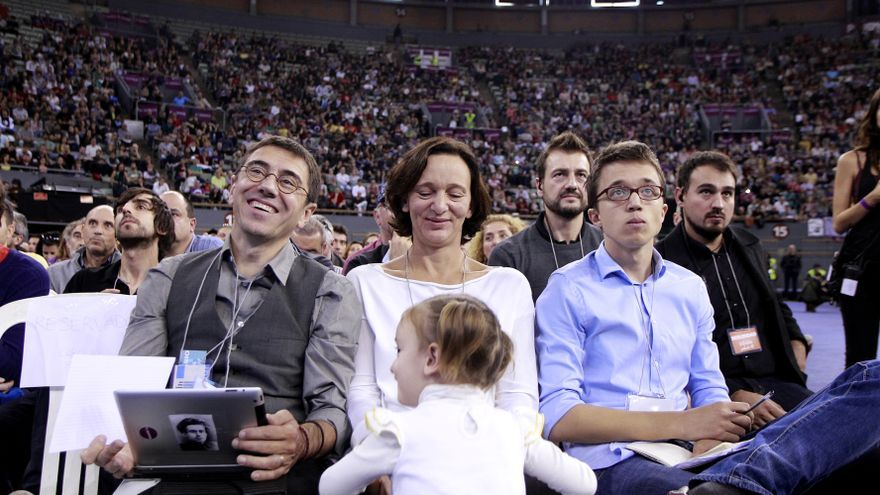 Monedero, Bescansa y Errejón en la Asamblea de Podemos / Marta Jara