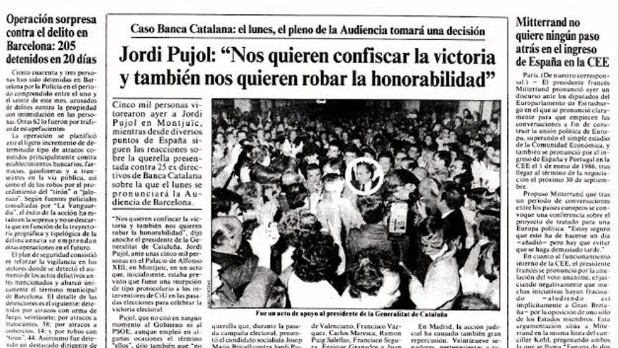 El caso Banca Catalana salpicó a Jordi Pujol. / La Vanguardia.