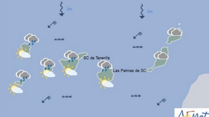 Cielos nubosos y posibles lluvias débiles para este viernes en Canarias