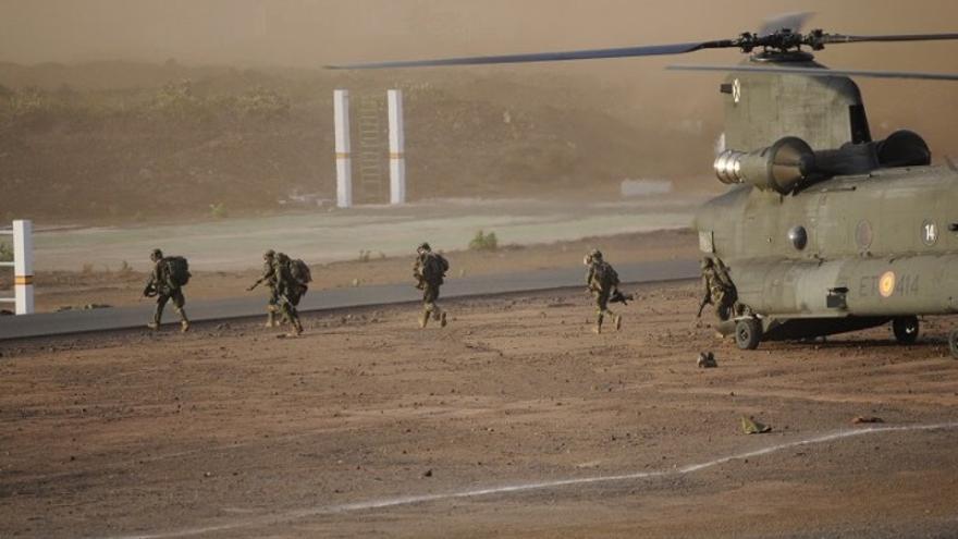 Ejercicio militar realizado este sábado en La Isleta.