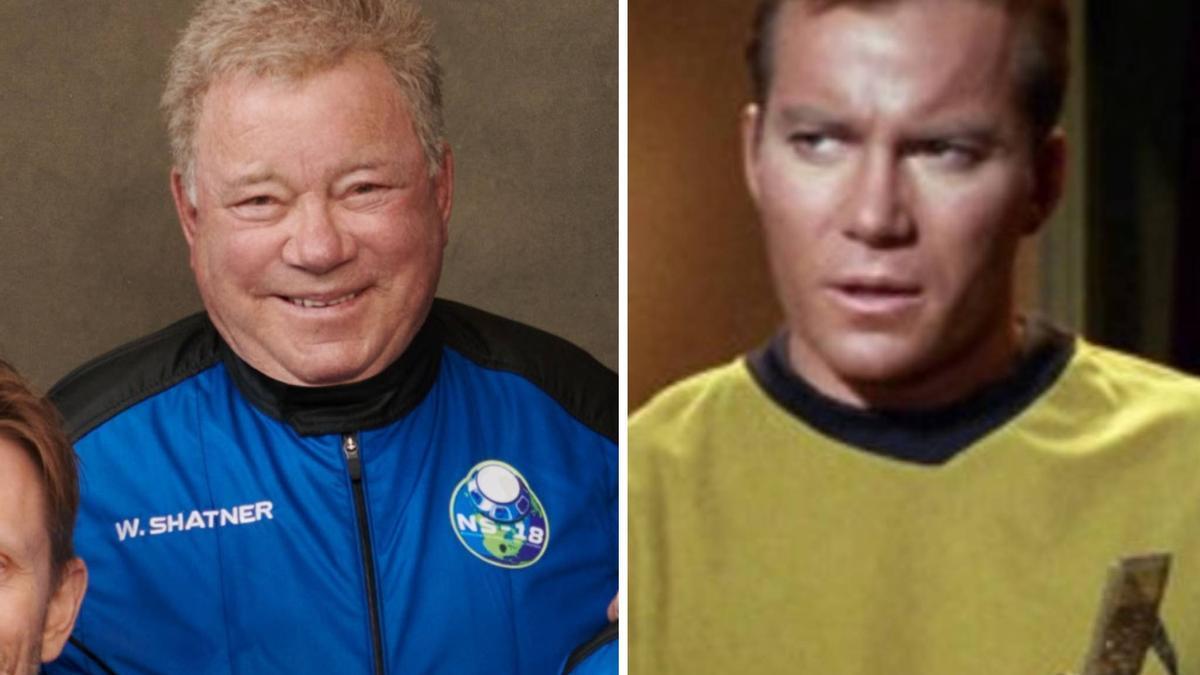 El actor canadiense William Shatner con el uniforme de Blue Origin y en un fotograma de Star Trek / BLUE ORIGIN