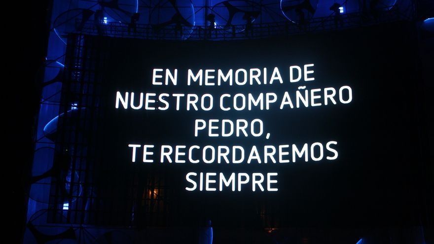 El mensaje en memoria de Pedro Aunión en una de las pantallas del Mad Cool
