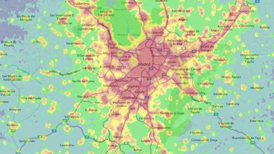 Contaminación lumínica de Madrid según el mapa de Lightpollutionmap.com