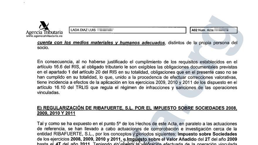 Acta de la Agencia Tributaria a Luis Lada.