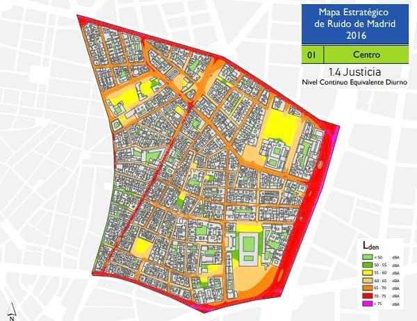 Niveles de ruido diurno en Justicia según el Mapa Estratégico del Ruido (MER) 2016 | Ayuntamiento de Madrid