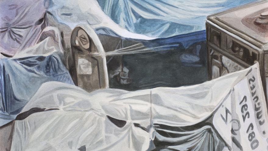 """Detalle de la obra """"Esto es lo verdadero"""", de Rafael Sánchez-Mateos Paniagua y Fernando Baena"""