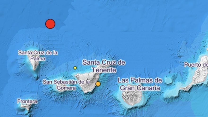 Mapa con el registro del sismo de este sábado al norte de La Palma.