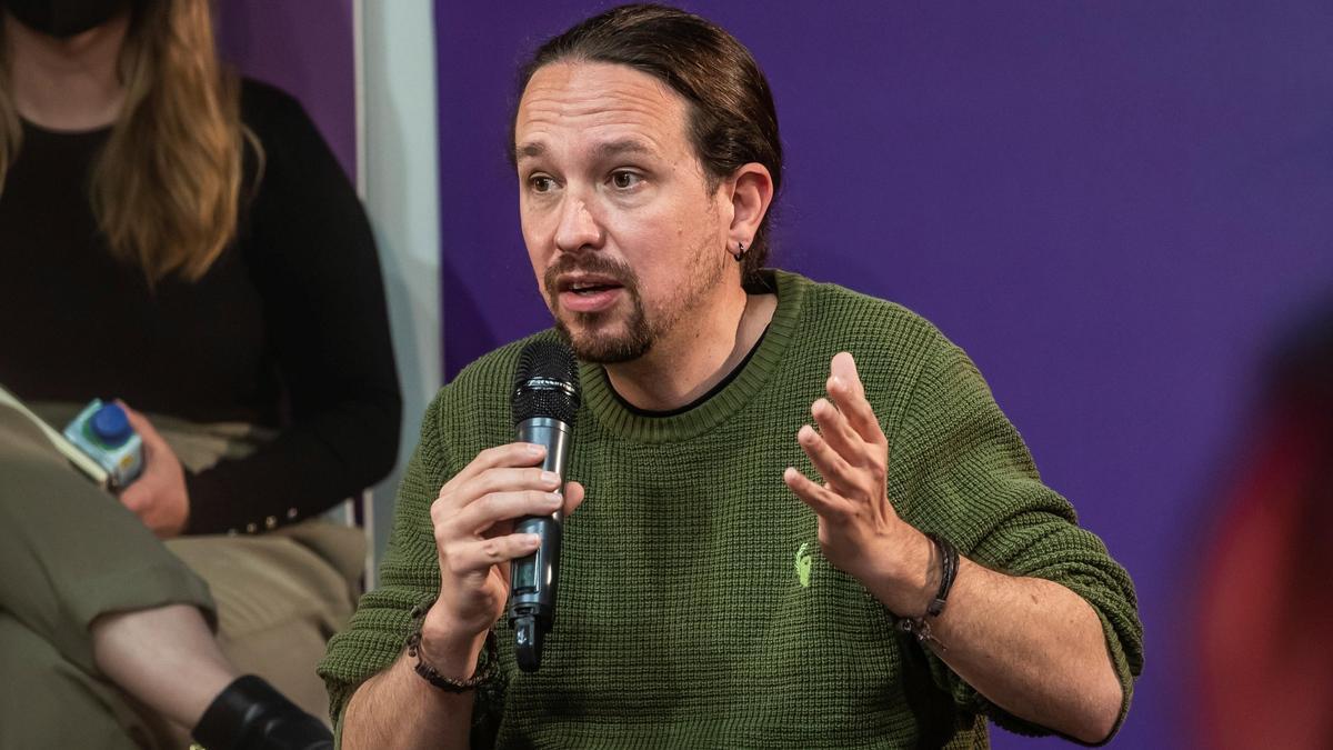 El candidato de Podemos a la presidencia de la Comunidad de Madrid, Pablo Iglesias, presenta el programa electoral de Unidas Podemo. EFE/Rodrigo Jiménez.
