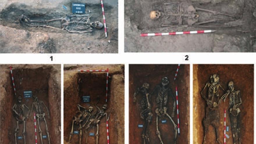 Imagen de los restos de víctimas del franquismo exhumadas por el grupo Paleolab en el territorio de actuación del AGLA. Imagen: Paleolab.