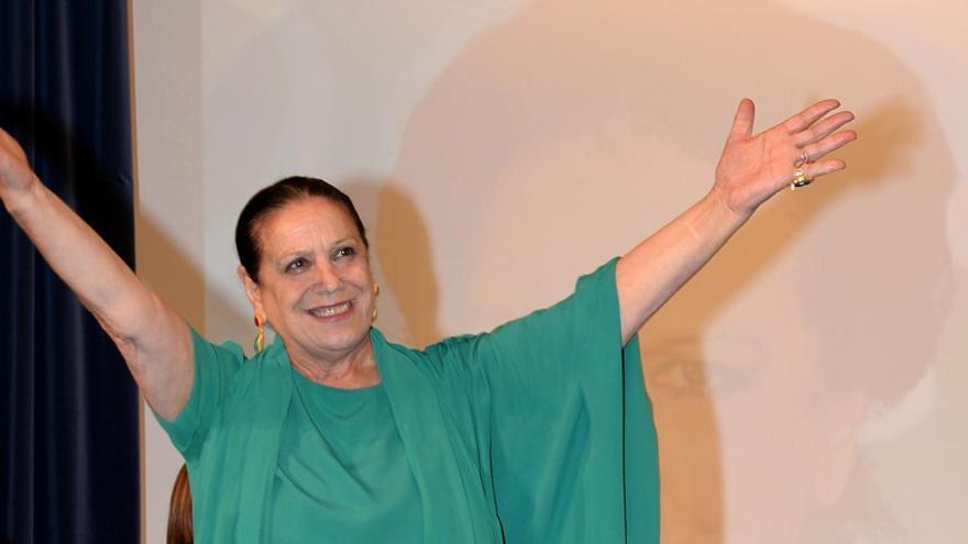 La actriz, durante el homenaje que recibió el festival onubense.