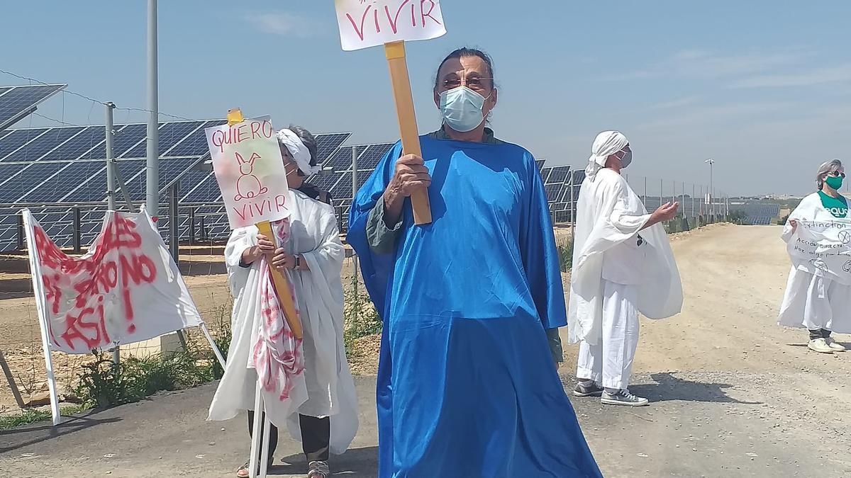 """Perfomance de Extinction Rebellion Contaminación Cartagena contra el """"boom"""" de las placas solares"""