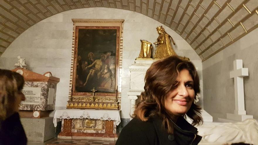 Carmen Luisa Castro, en el Valle de los Caídos. (DIARIO DE AVISOS)