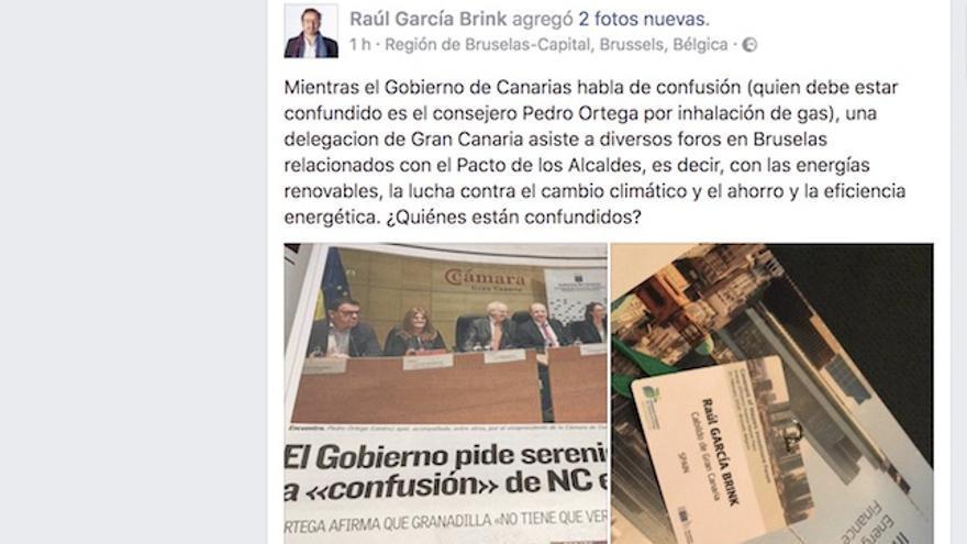 Post en Facebook de Raúl García Brink