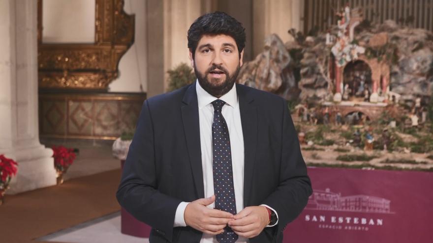 El presidente de la Región de Murcia (PP), Fernando López Miras, da un mensaje de fin de año