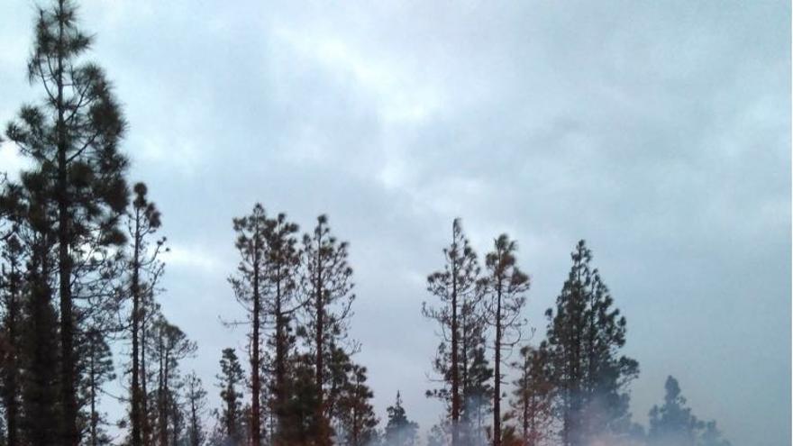 Labores de extinción del incendio en Chasna.
