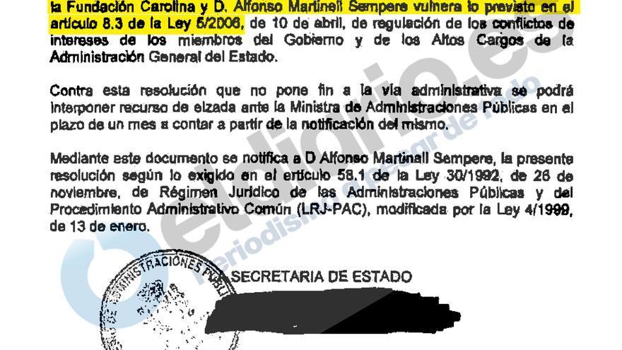 Resolución de la Oficina de Conflicto de Intereses negando la compatibilidad a Alfonso Martinell