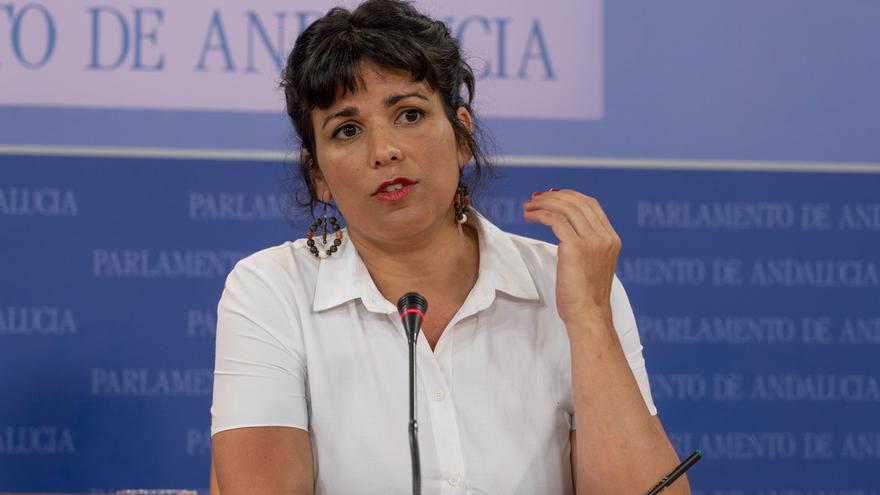 Teresa Rodríguez en una reciente comparecencia en el Parlamento andaluz.