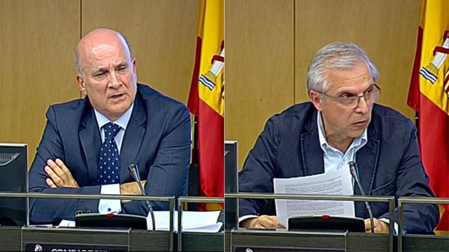 Andrés Cortabitarte y Antonio Lanchares, exdirectores de Seguridad de Adif y Renfe imputados por Angrois, durante sus comparecencias en el Congreso