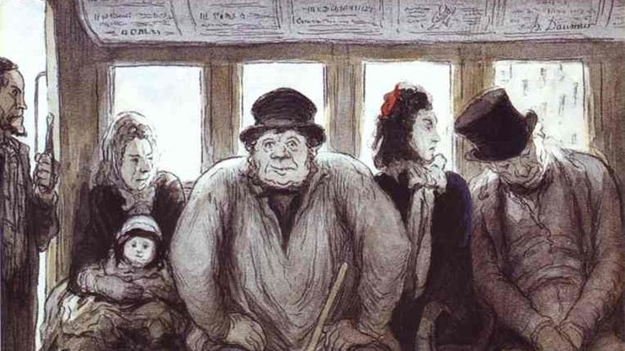 Honoré Daumier. En el ómnibus (1864).