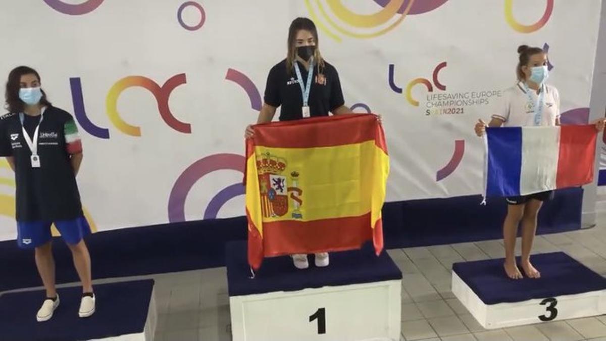 María Rodríguez en el podio.