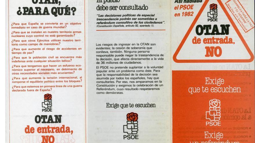 Reproducción de una octavilla que el PSOE lanzó en 1982 con su famoso 'OTAN, de entrada NO'.