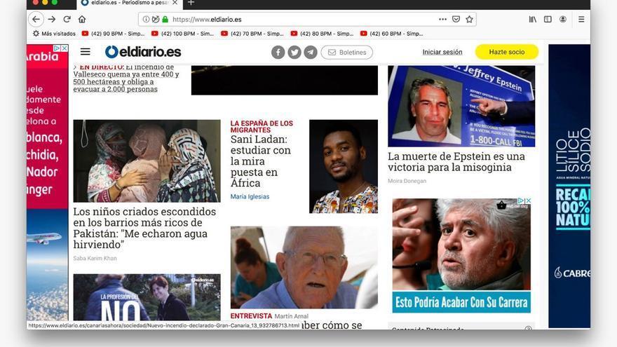 Portada de eldiario.es donde apareció el anuncio fraudulento.