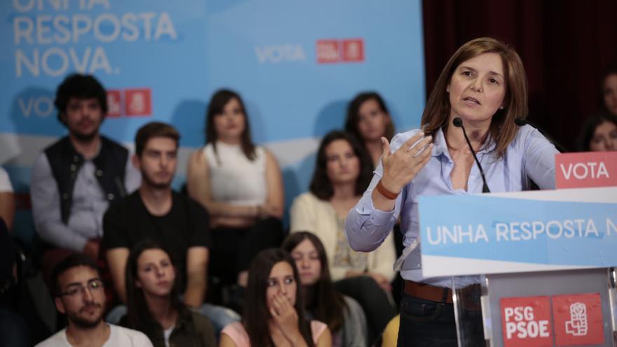 Pilar Cancela, presidenta de la gestora del PSdeG, en un mitin previo al 25S