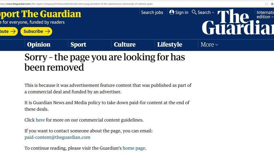 """Enlace de la entrevista al presidente de la Generalitat que 'The Guardian' ha eliminado al finalizar """"el acuerdo comercial""""."""