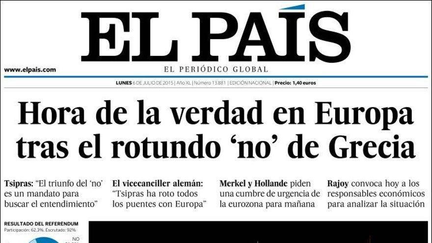 Portada del periódico 'El País' de este lunes, 06 de julio de 2015.