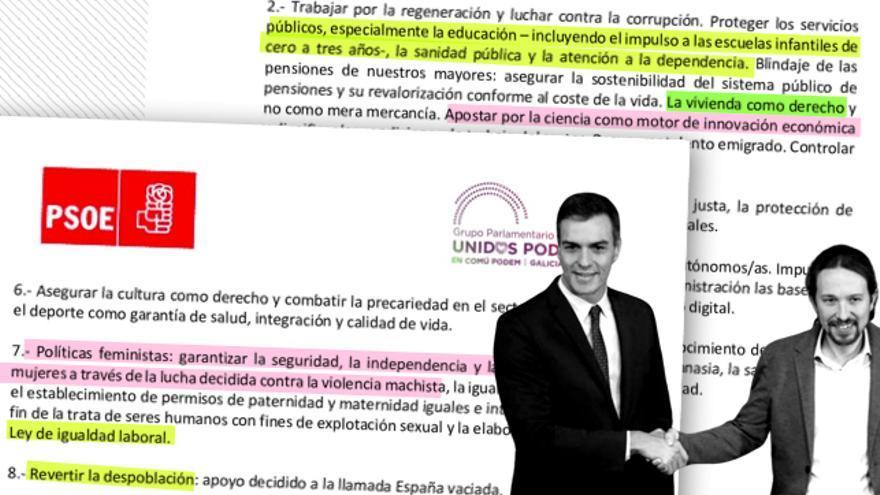 Las políticas sociales son los mayores puntos de encuentro en el pacto que han firmado Pedro Sánchez y Pablo Iglesias.