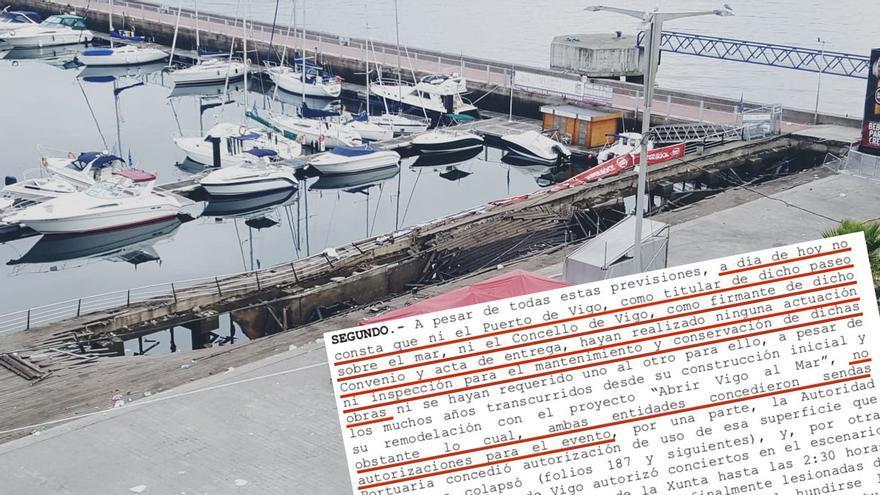 Paseo hundido durante el festival O Marisquiño y fragmento del auto con el que la jueza cita como investigados a dos técnicos del Puerto y otros dos del Ayuntamiento de Vigo