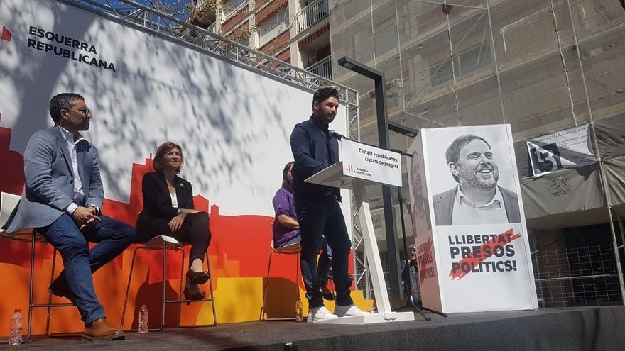 Gabriel Rufián, número dos de ERC, en un acto de la formación