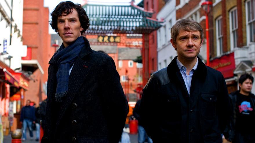 "Benedict Cumberbatch y Martin Freeman en ""Sherlock"""