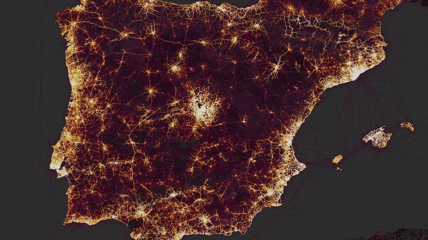 Mapa de calor de España con información sobre la actividad recopilada por Strava