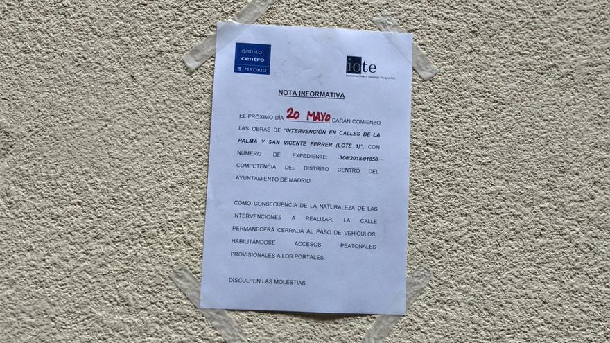 Cartel de aviso de obras colocado en la calle Palma   SOMOS MALASAÑA