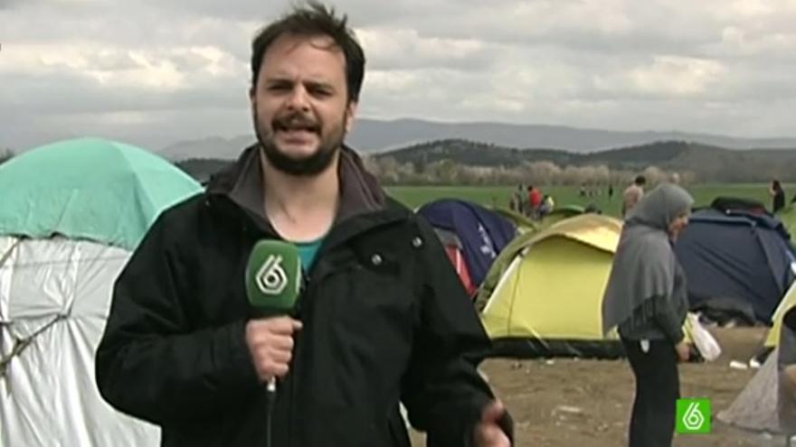 Alberto Sicilia, corresponsal de 'La Sexta Noticias' desde el campo de refugiados.