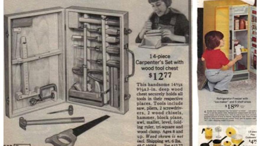 Anuncio de 1970 muestra a un niño con una cocina de juguete y una niña con herramientas