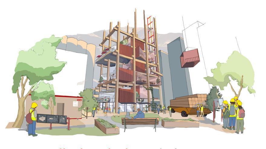 Un diseño de los edificios de madera que plantea el proyecto del gigante
